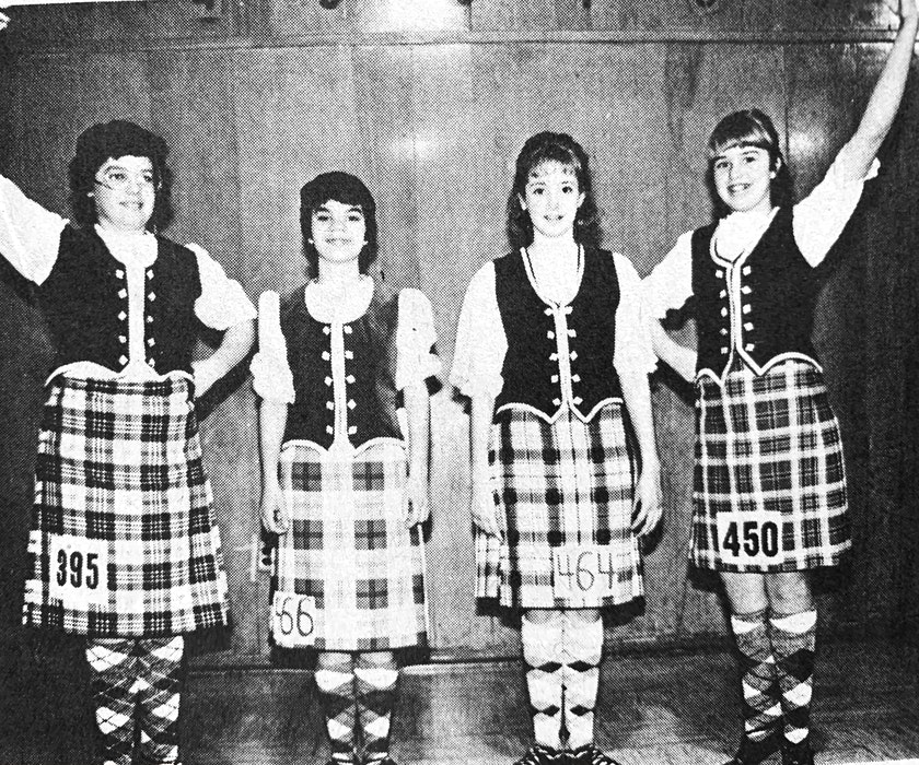 Jane Blanchard, of Ellershouse, and Windsor dancers Carolyn Lawrence, Keri McAdoo, and Heidi McAdoo were among the 150 dancers from Nova Scotia and New Brunswick that competed at the 1986 Hants County Highland Dancing Competition. - File Photo