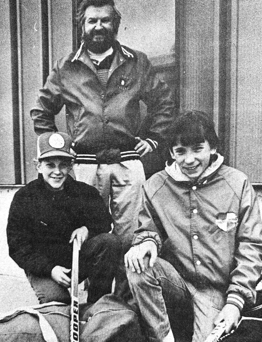 In 1986, Kris Lockhart and Bradley Burgess were chosen to join a Valley Select pee wee hockey team headed to New Hampshire for an exhibition tournament. Also pictured, looking on, is Bob Burgess. - File Photo