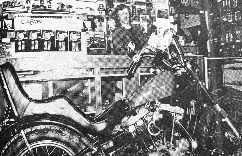 Businessman Bruce Regan, of Bro's Cycle Supply Ltd., was featured in the Hants Journal in 1986. He's pictured with a custom Harley Davidson that was almost ready for pick-up. It was reported that custom builds were keeping the owner busy day and night. - File Photo