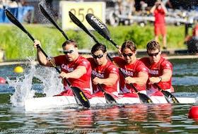 The Canadian crew of Mark de Jonge (Masqua Aquatic Club), Nick Matveev (Balmy), Pierre-Luc Poulin (Lac-Beauport) and Simon McTavish (Mississauga) qualified for the Tokyo Olympics in the K4 500-metre event. - Canoe Kayak Canada