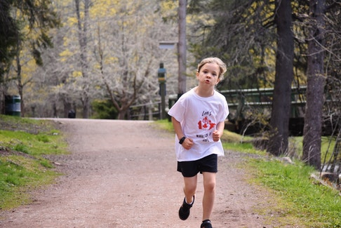 Running in the shadow of her hero, Terry Fox, Lexi Barbour, 6, of Truro has embarked on her own Marathon of Hope in an effort to raise money for cancer research at the IWK. HARRY SULLIVAN - TRURO NEWS