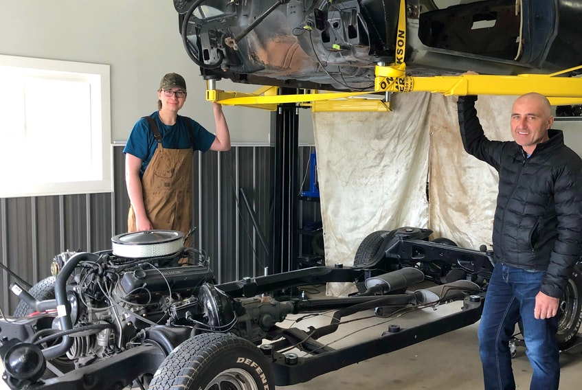 Gerry Foote, right, and his son Chandler, of Kilmuir, PEI, are working on a father-son project involving the restoration of a 1968 Buick Skylark.  While they're doing the major rebuilding work at the garage, the plan is for Chandler to do some additional work as a school project for the Montague Regional High School automotive class, and to get it road ready in time for graduation.