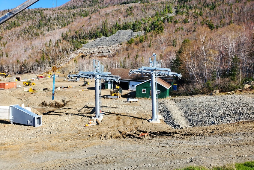 The first towers have been erected for the new gondola lift at Ski Cape Smokey in northern Cape Breton. The gondola is expected to begin operation this summer. Once completed, the all-season lift will take less than five minutes to whisk passengers to the top of the mountain. CONTRIBUTED