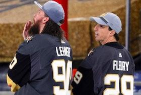 Vegas Golden Knights goaltenders Robin Lehner (left) and Marc-Andre Fleury.