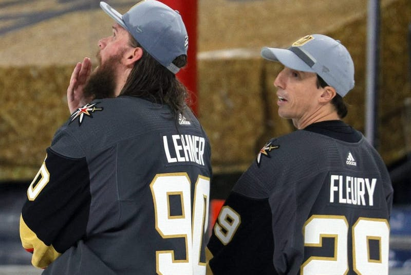 Vegas Golden Knights goaltenders Robin Lehner (left) and Marc-Andre Fleury.   - Ethan  Miller