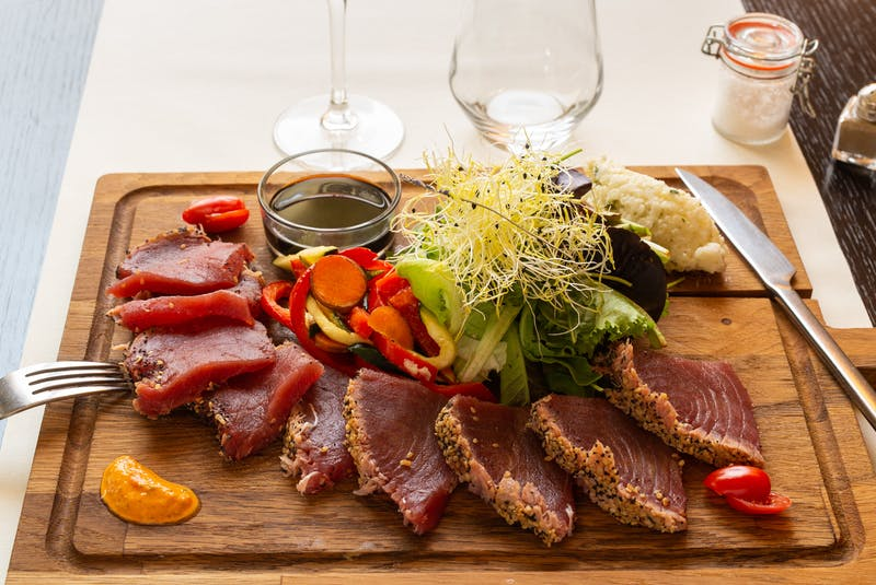 Mark DeWolf suggests pairing tuna tataki with California Pinot Noir. - Mark DeWolf