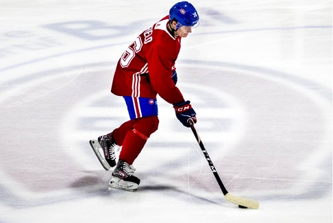 Cole Caufield was on the fifth line with Jesperi Kotkaniemi and Michael Frolik when the Canadiens practised Saturday morning in Brossard.