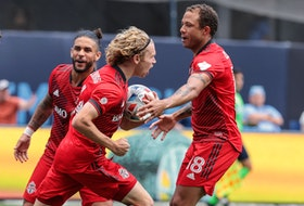 Toronto FC's Jacob Shaffelburg celebrates his goal with teammates during the second half against New York City on Saturday.