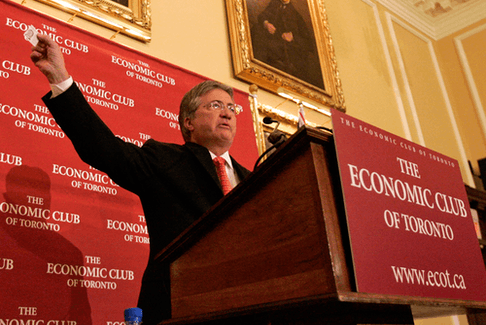 Newfoundland and Labrador Premier Danny Williams speaks at the Economic Club of Toronto on May 3, 2007.