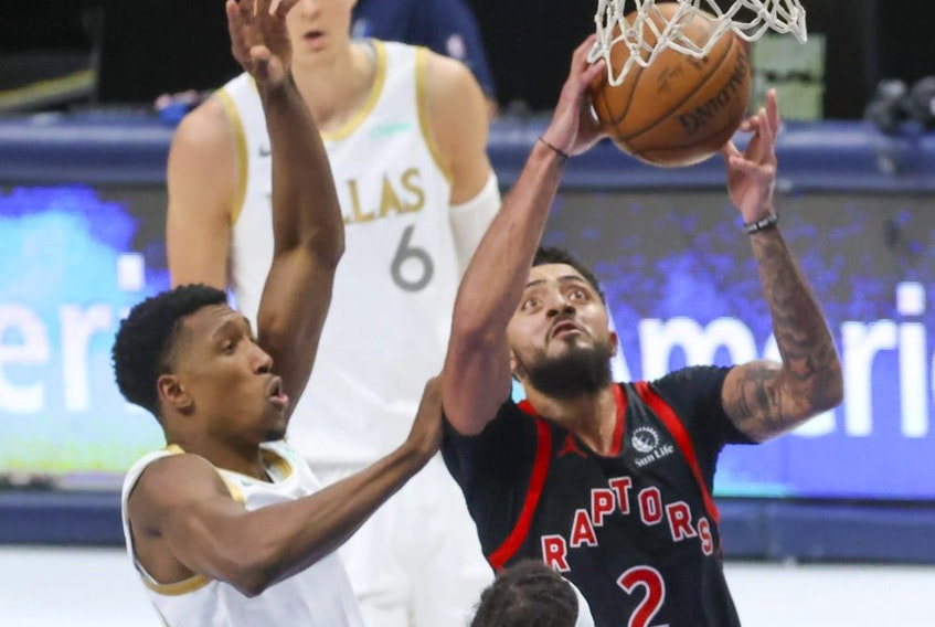 Toronto Raptors guard Jalen Harris (right) recorded a career-high 31 points against the Dallas Mavericks on May 14, 2021.