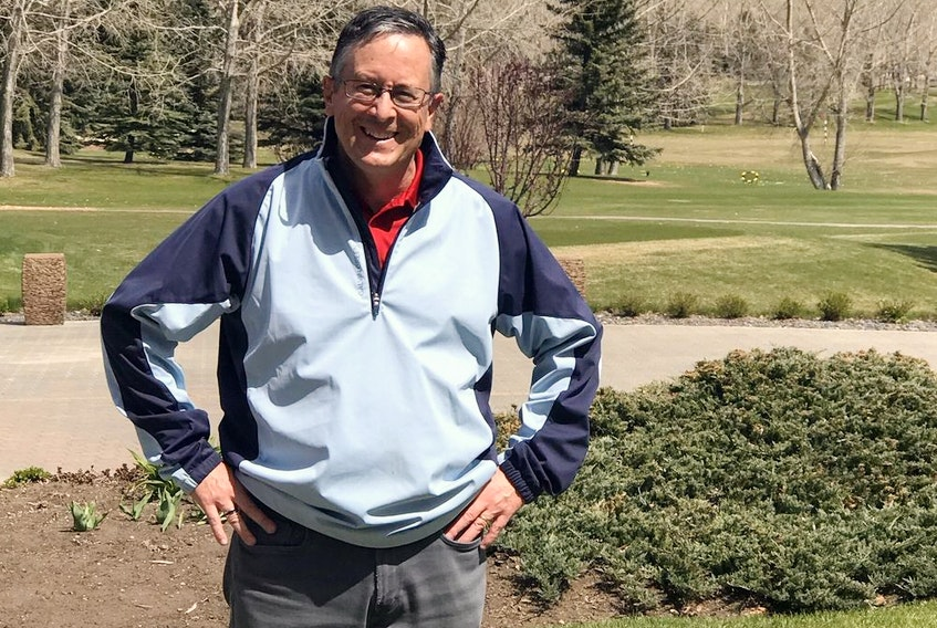 Calgary's Clive Grant, a longtime club pro and still in the golf industry as a salesperson, was all-smiles after his fifth career hole-in-one.