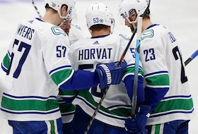 Vancouver Canucks forward Bo Horvat celebrates a second-period goal against the Edmonton Oilers at Rogers Place.