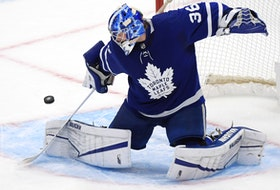 Toronto Maple Leafs goalie Jack Campbell makes a save against the Montreal Canadiens in the third period at Scotiabank Arena in Toronto, May 8, 2021.