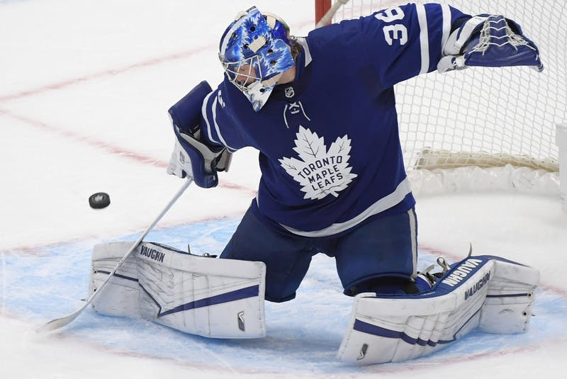 Toronto Maple Leafs goalie Jack Campbell makes a save against the Montreal Canadiens in the third period at Scotiabank Arena in Toronto, May 8, 2021.  - Dan  Hamilton