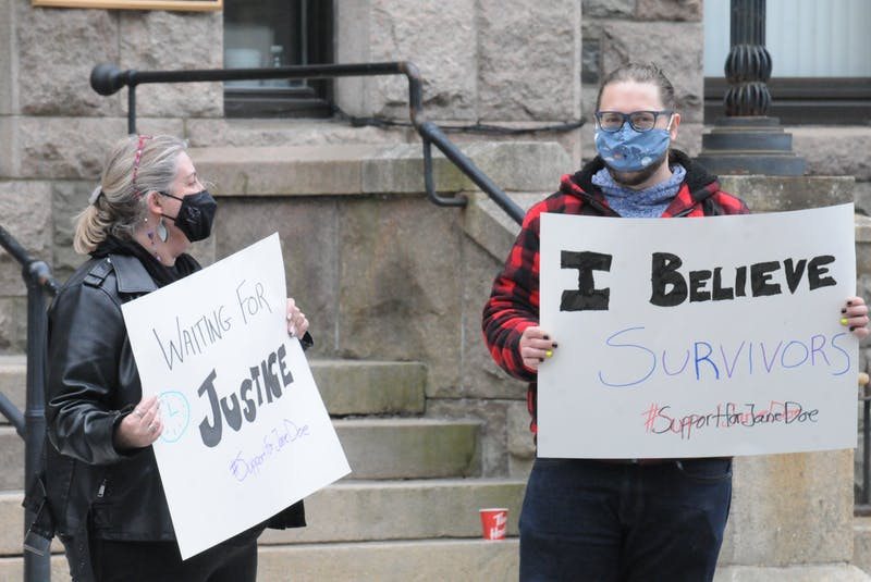 About two-dozen folks gathered outside the Supreme Court of Newfoundland and Labrador building on Duckworth Street in downtown St. John's on Saturday to support the survivor of a 2014 sexual assault by RNC officer Const. Doug Snelgrove. - Joseph Gibbons