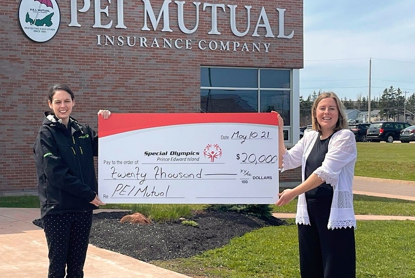 Jennifer Pilkington (right), office agent for P.E.I. Mutual Insurance Company, presented Special Olympics P.E.I. with a donation of $20,000. The donation was accepted by Sarah Profitt-Wagner (left), manger of communications, fund development, school and youth.