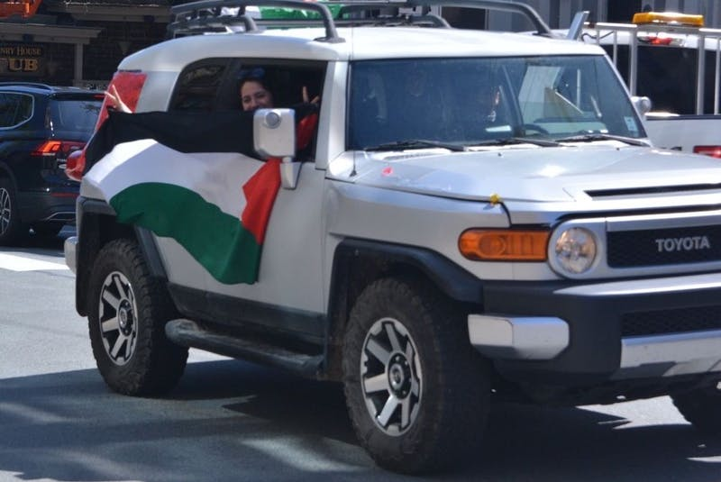 Multiple people showed up for the #FreePalestine rally in their cars in downtown Halifax on Saturday. - Contributed