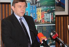 Cutline (Peter Jackson photo): Eastern Health CEO David Diamond speaks to reporters Monday at St. John's City Hall.