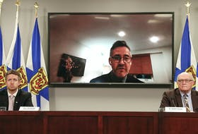 May 17, 2021 - Dr. Brendan Carr, president and CEO of NSHA, joins Premier Iain Rankin and and Dr. Robert Strang, Nova Scotia's chief medical officer of health, by videoconferencing.