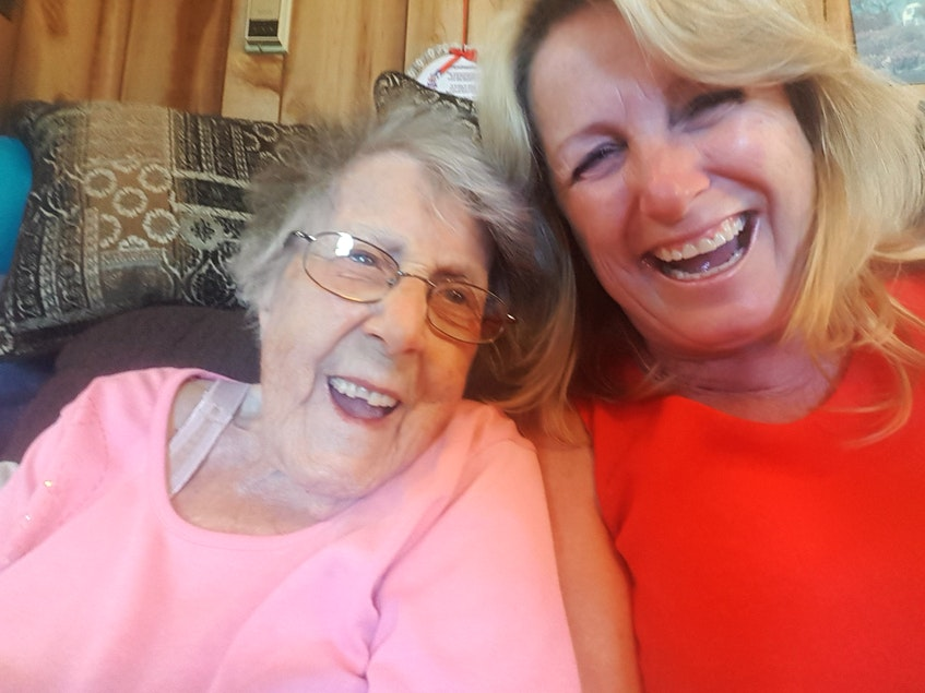 Kim Criece-Reynolds fondly remembers the laughs shared with her 100-year-old grandmother, Myrtle Hinds, during Gram's first lesson in how to take a selfie photo. - Contributed