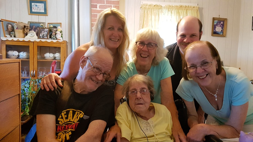 Nictaux South resident Myrtle Hinds is pictured with family in this photo taken in 2019. She recently celebrated her 100th birthday. Back row: Kim Criece-Reynolds, Marion Criece and Carl MullinFront row: Lawrence Hinds, Myrtle Hinds and Linda Mullin - Contributed