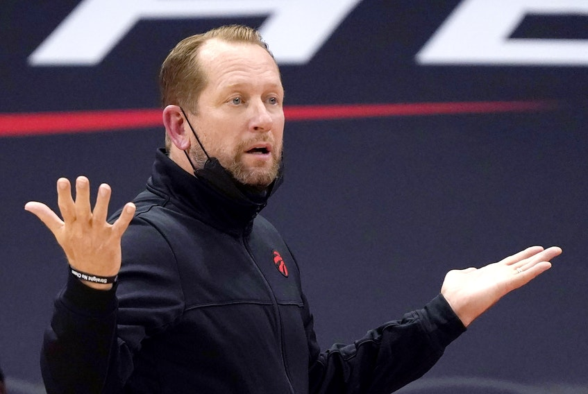 Toronto Raptors head coach Nick Nurse questions a call during the second half of an NBA basketball game against the Orlando Magic on April 16, 2021, in Tampa, Fla.