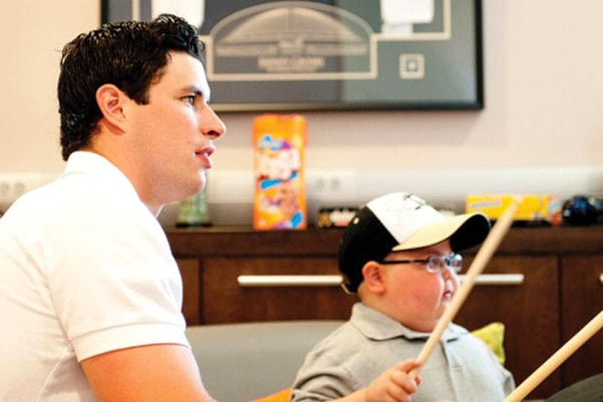 Sidney Crosby visits with a patient at the IWK Hospital in Halifax. - Contributed