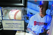Here's the baseball Matthews threw out for the ceremonial first pitch at a triple-A Bisons game during draft week in Buffalo.. Jack Boland/Toronto Sun