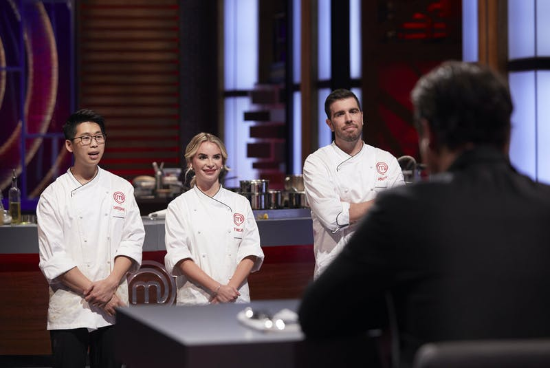 Finalists Christopher Siu, Thea Vanherwaarden and Dartmouth's Andy Hay face the judges on the final episode of MasterChef Canada: Back to Win. - CTV/Bell Media
