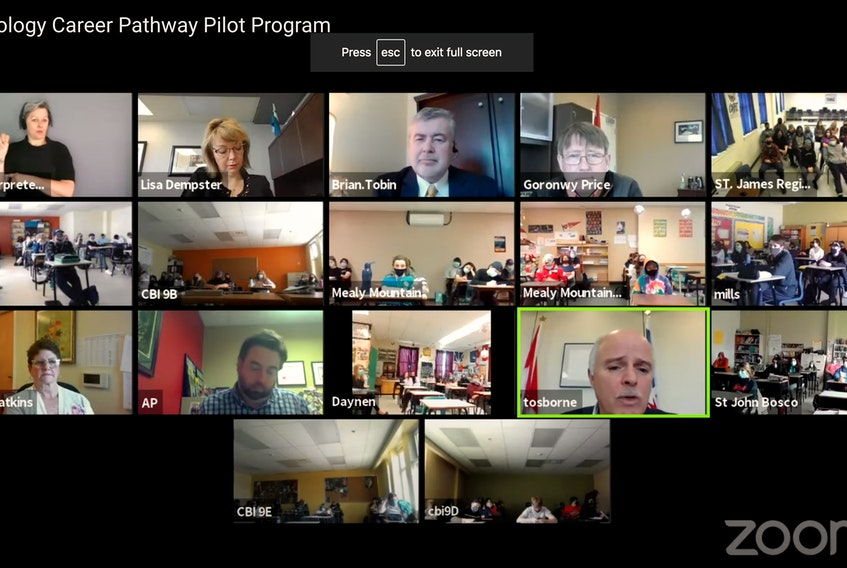 Participants in a Zoom call Monday announcing the 10 high schools across the province that will participate in the Technology Career Pathway pilot program starting in September. Screengrab