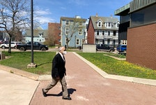 Edward Thomas Mundle walks to P.E.I. Supreme Court during a recent appearance where he is on trial for one count of sexual assault.