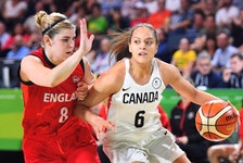 Daneesha Provo (right) recently completed her first professional season in Germany with Eisvögel USC Freiburg. She topped the Damen Basketball Bundesliga, Germany's top women's pro league, in scoring with 20.41 points per game. - CANADA BASKETBALL