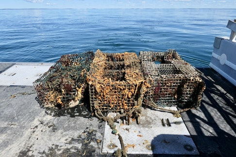 Three of the 189 lobster traps retrieved last year as part of the Tackling Ghost Gear: Collaborative Remediation of Abandoned, Lost and Discarded Fishing Gear in Southwest Nova Scotia project, look as though they have been on the bottom of the ocean for a while. CONTRIBUTED • COASTAL ACTION