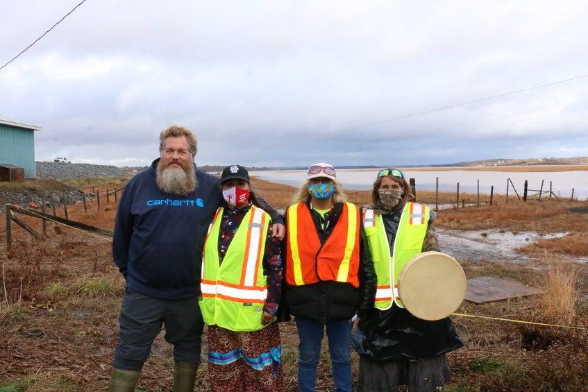 Avon River fisherman Darren Porter and water defenders Ducie Howe, Sandy Toney and Marian Nicholas are among those who have been lobbying to have the Windsor causeway removed to allow free tidal flow. This picture was taken in November 2020 when a protest was staged on Highway 101 to bring attention to their cause. - Carole Morris-Underhill