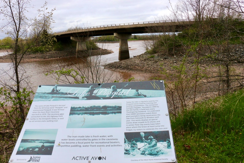 The view from one of the many walking trails developed around Lake Pisiquid provides visitors with some history about the Avon River causeway and the activities that occur on the man-made lake. - Carole Morris-Underhill