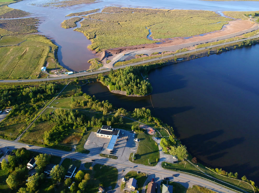 In order to accommodate the construction of the Highway 101 in the late 1960s, early 1970s, a causeway was built between Windsor and Falmouth, cutting off the Avon River and creating Lake Pisiquid. This aerial photo, taken by Alex Hanes in 2020, shows the result of 50 years of blocking the river. - Contributed