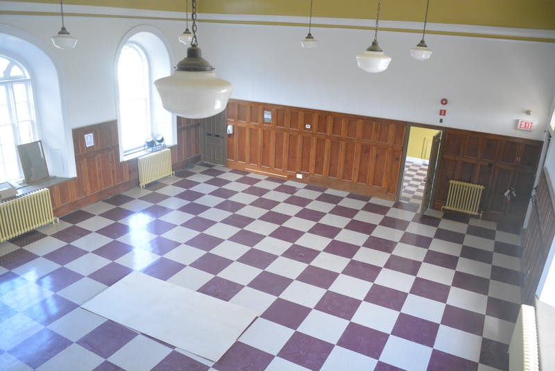 The upstairs courtroom has been cleared out, with a new floor put down. It will become an events space.  - Nicholas Mercer