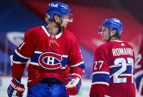 Canadiens centre Eric Staal will be in the starting lineup for Game 1 of Montreal's playoff series against the Maple Leafs, but defenceman Alexander Romanov will be on the outside looking in.