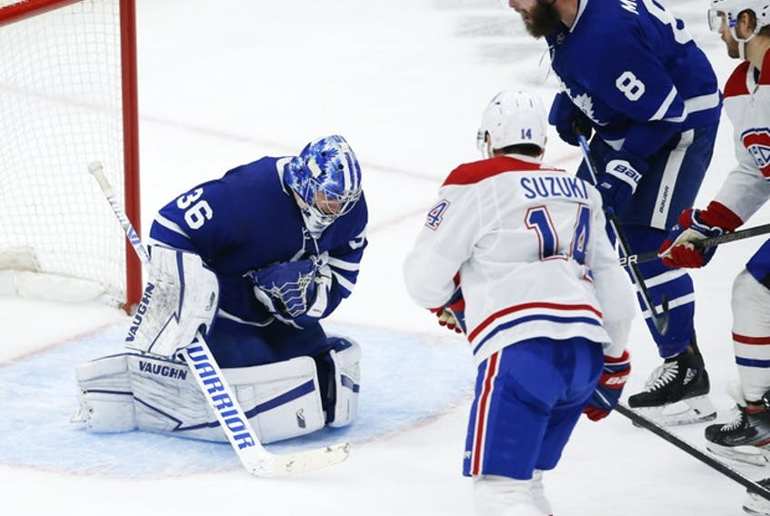 Goaltender Jack Campbell makes a save against the Canadiens during a game this season. Campbell and the Maple Leafs take on Montreal in the first round of the playoffs, starting Thursday.