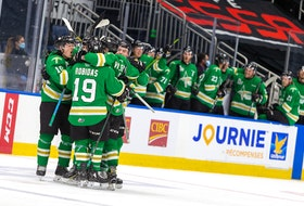 The Val-d'Or Foreurs celebrate after Nathan Legare scored what proved to be the winning goal midway through the third period of Game 1 of the Quebec Major Junior Hockey League semifinal Monday in Quebec City. – Jonathan Roy • QMJHL