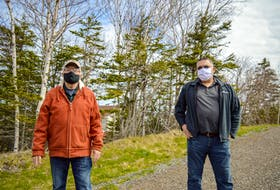 Dominion residents Ron Mazzocca, left, and Ron Campbell stand on the Coal Town Trail in Dominion. JESSICA SMITH • CAPE BRETON POST