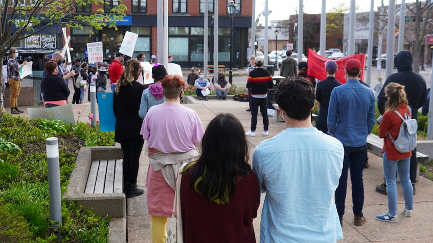 Charlottetown residents gathered for a rally before the city's public meeting on short-term rentals on May 17. - SaltWire Network File Photo