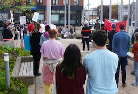 Charlottetown residents gathered for a rally before the city's public meeting on short-term rentals on May 17.