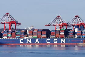 The CMA CGM Marco Polo has docked at the Port of Halifax after arriving Monday evening. It's the largest container ship to call on a Canadian port and the first vessel of its size to dock on the East Coast of North America...seen from Woodside Tuesday May 18, 2021.