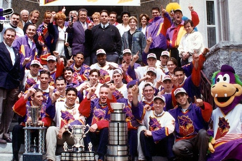 The Granby Prédateurs — now known as the Cape Breton Eagles — were crowned the Memorial Cup champions 25 years ago on May 19, 1996. It's the franchise's only championship in its 51-year history, dating back to the Sorel Éperviers in 1969. Members of the team are shown with the Memorial Cup and championship trophies. CONTRIBUTED • CHL HOCKEY