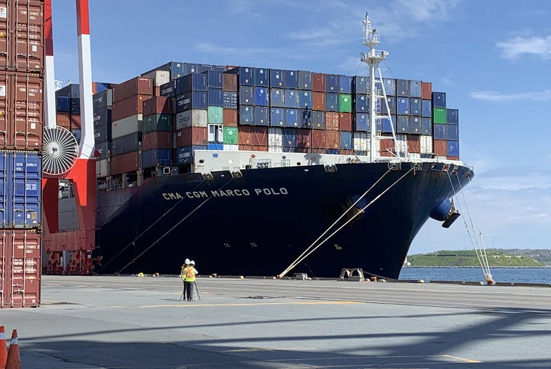 The CMA CGM Marco Polo is docked at the Port of Halifax on Tuesday, May 18, 2021, after arriving Monday evening. It's the largest container ship to call on a Canadian port and the first vessel of its size to dock on the East Coast of North America. - Tim Krochak