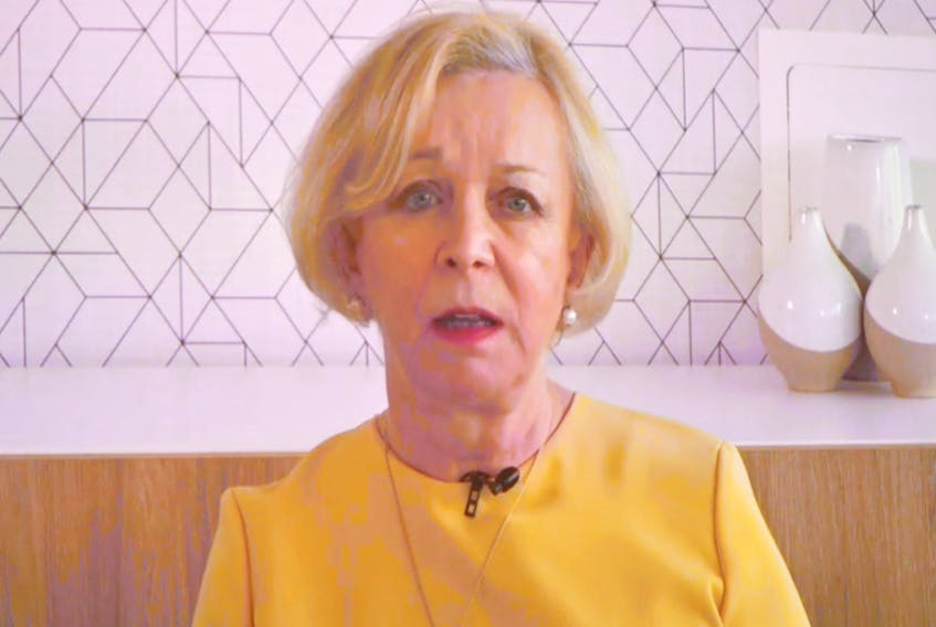 Dame Moya Greene outlined the key recommendations of the report of the Premier's Economic Recovery Team virtually May 6 from her home in the United Kingdom.