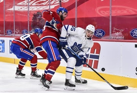 Joel Edmundson  of the Montreal Canadiens and Ilya Mikheyev of the Toronto Maple Leafs, jostling for the puck during an earlier , could be unlikely heroes for their respective teams.