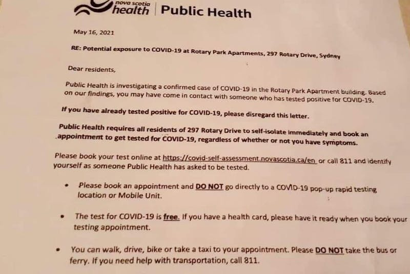 This notice from Nova Scotia Public Health was distributed to residents of Rotary Park Apartments on May 19. CONTRIBUTED