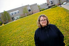 Stacey Rudderham is seen in front of Lockview High in Fall River on Wednesday May 19, 2021. She's worried that the quality of education will decline in Nova Scotia schools amid changes in schedule policy and staffing. - Tim Krochak